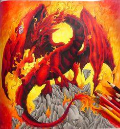 Feuerdrache aus #mythomorphia  #adultcoloring #adultcoloringbook #kerbyrosanes #dragon #coloring