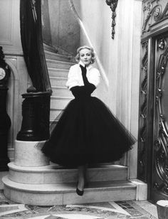 1951 Black Tulle Dress with White Bolero