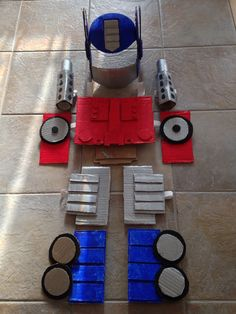 Optimus Prime Rescuebots costume (back). Materials: cardboard, elastics, paint.