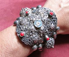 Antique silver cuff filigree Saint Christopher by madonnaenchanted, $140.00 SOLD
