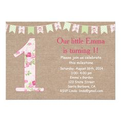 Shabby Chic and Burlap First Birthday Invitation