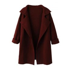 Wine Red Lapel Long Sleeve Knit Coat (980 MXN) ❤ liked on Polyvore featuring outerwear, coats, jackets, tops, long sleeve coat, red coat, knit coat and lapel coat