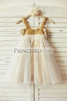 Thin Straps Gold Sequin Ivory Tulle Flower Girl Dress