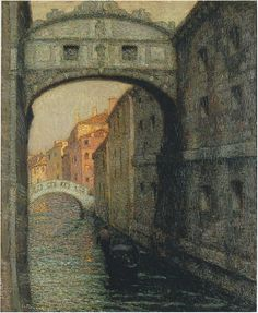 peira: Henri Le Sidaner: Venice, The Canal of Sighs The Athenaeum Mauritius, Venice Bridge, Pintura Exterior, Maurice, Nocturne, Canvas Art Prints, Landscape Paintings, Art Gallery, Fine Art