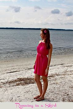 Pink halter dress with tie. Flower in the hair! Shot at Hilton Head beach/ Running in a Skirt.