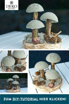 DIY autumn decoration with mushrooms made of kneaded concrete. This DIY project can ., DIY autumn decoration with mushrooms made of kneaded concrete. This DIY project you can easily tinker. The instructions can be found here: www. Diy Kitchen Projects, Diy Projects Cans, Diy Kitchen Decor, Diy Garden Projects, Diy Garden Decor, Fall Crafts, Diy And Crafts, Concrete Crafts, Fall Diy