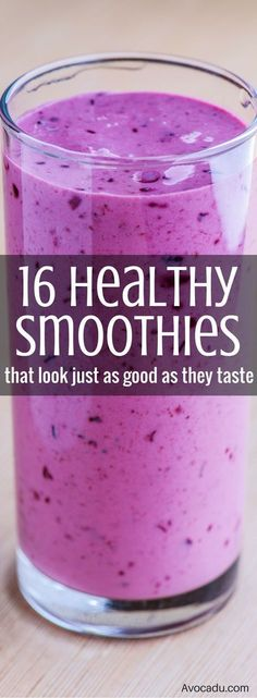 16 Healthy Smoothies That Look As Good As They Taste Healthy Smoothie Recipes Best Smoothie Recipes, Healthy Smoothies, Healthy Drinks, Healthy Eating, Healthy Meals, Eating Fast, Breakfast Healthy, Drink Recipes, Healthy Breakfasts