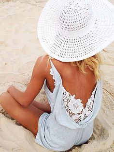 baby blue & white lace romper. perfect for beach days ahead!