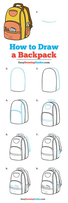 Wie zeichnet man einen Rucksack - Really Easy Drawing Tutorial - Zeichnung Drawing Lessons, Drawing Tips, Art Lessons, Drawing Ideas, Learn Drawing, Easy Drawing Tutorial, Doodle Art For Beginners, Drawing Tutorials For Beginners, Art Drawings Sketches