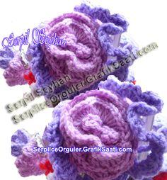 Ev dekorasyonu için örgü çiçek modelleri Knitted flower patterns for home decoration