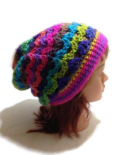 Bright Rainbow Ombre Slouchy Beanie Open Stitch by AddSomeStitches