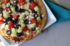 Greek Tortilla Pizza-  used kalamata olives, red peppers (skipped cucumber and tom) and tossed in vinaigrette. Broiled.