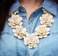 Beaded Rose Flower Statement necklace
