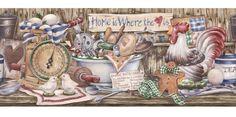 kitchen wallpaper | wallpaper borders for kitchen Allen roth 8 7.8 Blue Country Kitchen ...