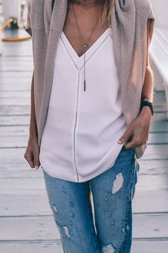 Summer Nights: Distressed Jeans and Silk Tank