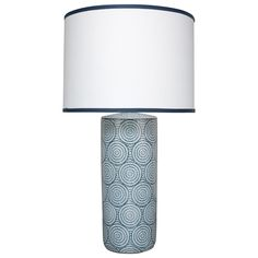 Fixture Dimensions: x Bulb Type: Socket Type: Bulb Shape: Material: Ceramic Finish: Blue and White This lamp is a simple contemporary column shape in a sophisticated Moorish indigo pattern, repeated over a bone white porcelain background. Grey Table Lamps, Ceramic Table Lamps, Light Table, A Table, White And Blue Flowers, Blue And White, Navy Blue, Shabby Chic Lamps