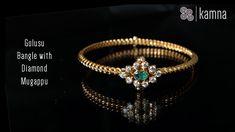 161 - Golusu Bangle with Diamond Mugappu Plain Gold Bangles, Solid Gold Bangle, Diamond Bangle, Diamond Jewelry, Diamond Mangalsutra, Gold Ring Designs, Gold Bangles Design, Pearl Necklace Designs, Gold Earrings Designs