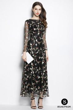 32d2234dd823 Black Organza Floral Long Party Dress Long Sleeves -  95  CK2065 -  SheProm.com