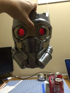 Star-Lord Helmet : 9 Steps (with Pictures) Starlord Mask, Nightwing Cosplay, Star Lord, Diy Mask, Guardians Of The Galaxy, Helmet, Lenses, Stars, Costume Makeup