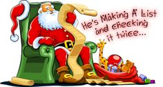 Christmas Clip Art featuring Santa Claus. You will find all kinds of Santas... old fashioned, contemporary, comical and of course the traditional picture of St. Nick.: Santa Making His List