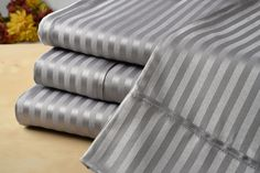 Dobby Collection Damask Stripe Sateen Microfiber Bed Sheets 4 Piece Set - 6 Colors