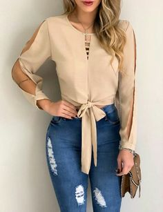 Solid Split Sleeve Cut Out Knot Waist Blouse woman fashion shoes,woman fashion bohemian,woman fashion everyday,woman fashion 40 year old,wo. Trend Fashion, Girl Fashion, Fashion Dresses, Womens Fashion, Fashion Ideas, Fashion Shoes, Fashion Blouses, Classy Outfits, Casual Outfits