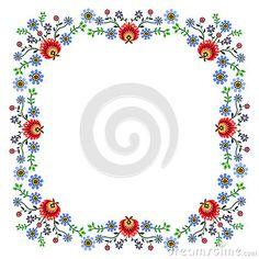 Polish pattern folk, flowers frame
