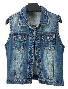 3e21b7f110 ShengTu Summer Women s Denim Sleeveless Jacket Tops Jean Vest (US M