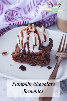 Delightfully rich and full of chocolate and pumpkin flavor, these pumpkin chocolate brownies make the perfect fall treat with a scoop of vanilla ice cream! Moist Brownies, Banana Brownies, Pumpkin Brownies, Homemade Brownies, Chocolate Brownies, Chocolate Desserts, Fun Desserts, Brownie Ingredients, Fall Treats