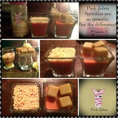 Pink Zebra sprinkles are so versatile! Can't do this with bars...  http://zebracandlesprinkles.com