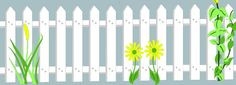 Picket Fence with Plants Mural