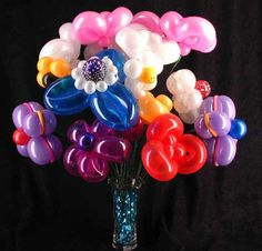 Colorfully whimsical balloon bouquet!