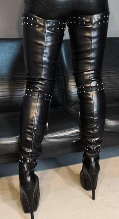 Thigh High Boots Heels, Stiletto Boots, Heeled Boots, Black Leather Boots, Leather Pants, Crotch Boots, Long Boots, Platform High Heels, Sexy Boots