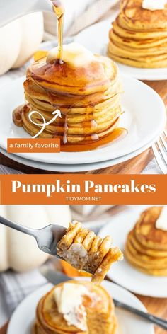 The Best Pumpkin Pancakes recipe – Made with buttermilk and the classic pumpkin spice flavors these pancakes are light and fluffy inside with a crispy outside!  Stacked high with butter and maple syrup they are the perfect fall breakfast. PRINTABLE RECIPE at TidyMom.net