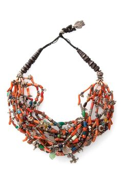 Morocco | Necklace; silver, coral, amazonite, amber and other beads. Clasp with a silver engraved khamsa | ca. early 20th century | 1220 € ~ sold (Dec '14)