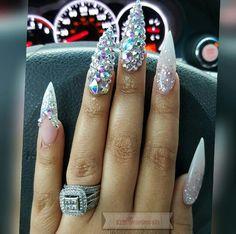 Blinged stiletto nails Swarovski crystals