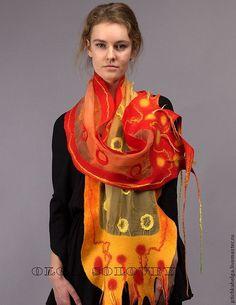 Купить шарф ОРАНЖЕВЫЕ КРУГИ - солнце, красный, оранжевый, подарок, войлок, handmade, модный аксессуар