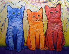 Page 3 :: The Artwork of Steven Schuman Stray Cat Strut, 6th Grade Art, Cat Stevens, Red Cat, Cat Colors, Cat Drawing, Elementary Art, Cat Art, Art Education