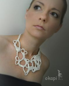 That's a beauty - crochet free form necklace