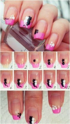 Cats in Love - 20 Ridiculously Cute Valentine's Day Nail Art Designs Art. - Cats in Love – 20 Ridiculously Cute Valentine's Day Nail Art Designs Art Valentinstag 20 - Cat Nail Art, Cat Nails, Animal Nail Art, Sharpie Nail Art, Simple Nail Art Designs, Cute Nail Designs, Simple Art, Animal Nail Designs, Diy Simple