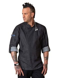 Ditch the same traditional look with the Gramercy Chef Coat from Chef Works. The modern and edgy jacket will set you apart in the kitchen while still being functional and durable. Quickly adjust to th Stylish Mens Fashion, Fashion Edgy, Street Fashion, Smart Outfit, Uniform Design, Denim Fabric, Clothing Company, Kappa, Blue Denim