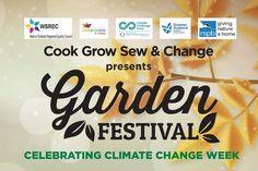 "GARDEN FESTIVAL LOGO – Heading and logo design for Cook Grow Sew's Garden Festival. ""Celebrating Climate Change Week."" #graphicdesign #logo #branding #marketing #gardenfestival #climatechangeweek"