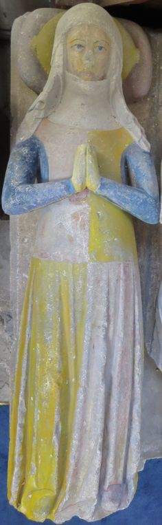 William Berkrolles, 1327, and wife, Phelice de Vere, Wales St Athan - St Athan http://www.themcs.org/costume/Female/Wales%20St%20Athan%20-%20St%20Athan%20William%20Berkrolles%201327%20and%20wife%20Phelice%20de%20Vere%20209.JPG
