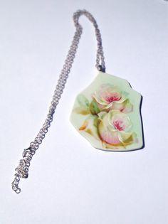 2 roses broken china jewelry vintage plate by CellarDoorShoppe, $30.00