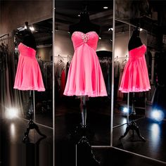 Homecoming Dress, Hot Pink Prom Dress,Short Prom Dress,Simple