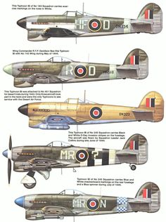 Vintage Planes In response to Specification design of the Hawker Typhoon was initiated by Sydney Camm in The Specification required a Rolls-Royce Vulture or Napier Sabre engine, so two prototypes w… Ww2 Aircraft, Fighter Aircraft, Military Aircraft, Air Fighter, Fighter Jets, Hawker Tempest, Hawker Typhoon, Ww2 Planes, Aviation Art