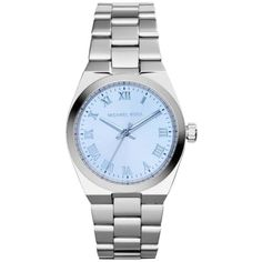 Pre-owned MICHAEL KORS (MK SILVER TONE BLUE Dial Watch (€175) ❤ liked on Polyvore
