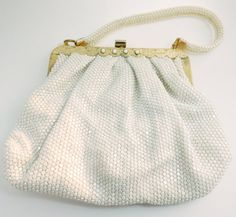 Winter White Mesh Purse, Lumured Formal Bag, Wedding Bag, Evening Bag, Vintage Wedding, Mid Century Purse