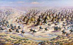 Sand Creek Massacre, Robert Lindneux, 1936. In 1864, a volunteer militia massacred a Cheyenne village near Sand Creek in Colorado territory