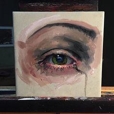 6x6 Oil on ceramic Email:Dankobasicarts@gmail.com #oilpainting #art #artcollective #artfido #artnerd #sullen #art #eye